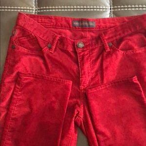 Women's corduroy Deep burgundy red skinny pants